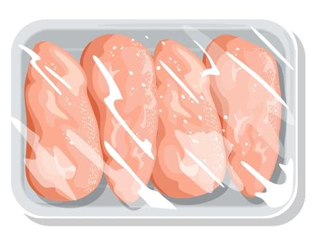 Abgepackte Hähnchenbrustfilets